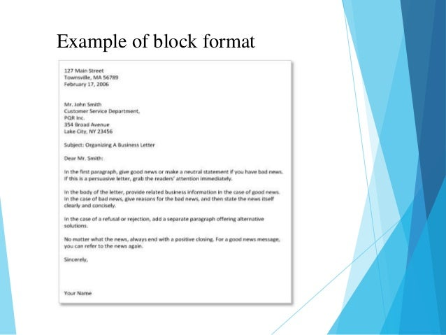 Business letter common components of business letters 12 example of block format spiritdancerdesigns Images