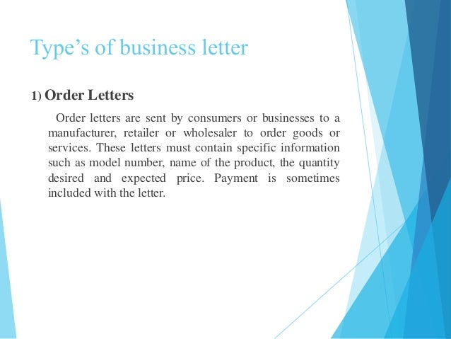 How to write a business letter for placing an order