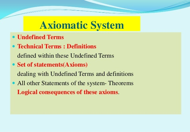 Axiomatic System Undefined Terms Technical Terms : Definitions  defined within these Undefined Terms Set of statements(...