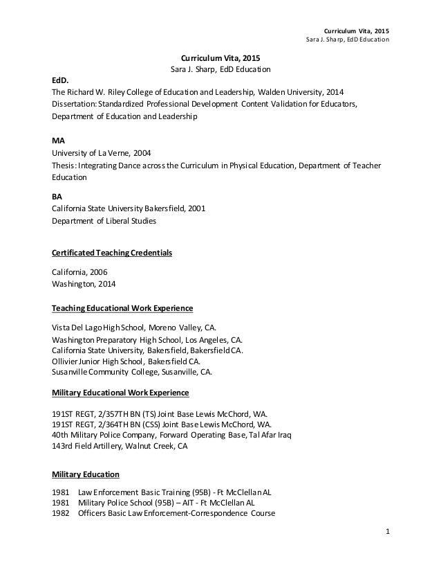 Curriculum Vita, 2015 Sara J. Sharp, EdD Education 1 Curriculum Vita, 2015 Sara J. Sharp, EdD Education EdD. The Richard W...