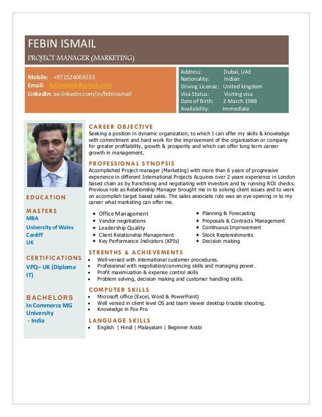 FEBIN ISMAIL PROJECT MANAGER (MARKETING) Mobile: +971524069233 Email: febin6669@gmail.com LinkedIn: ae.linkedin.com/in/feb...