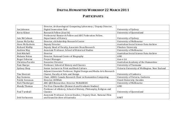 digital humanities workshop 22 march 2011