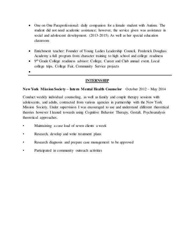 Counselors Resume