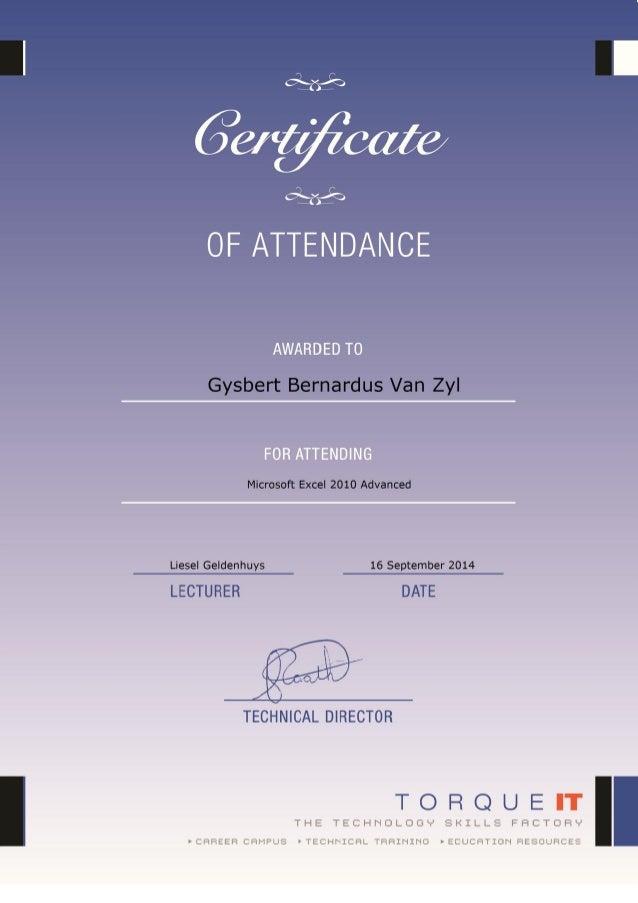 Certificate Microsoft Excel Advanced