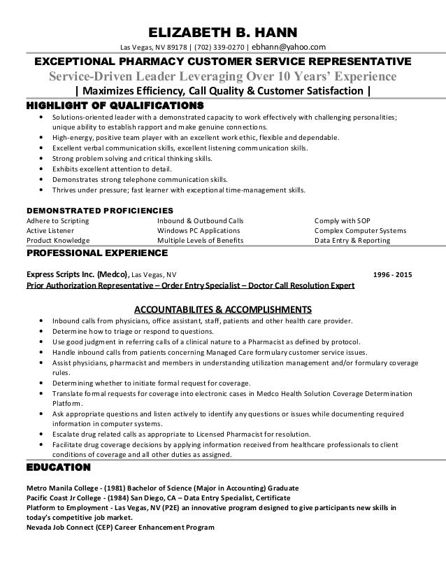 Beth Resume from Miss Sally