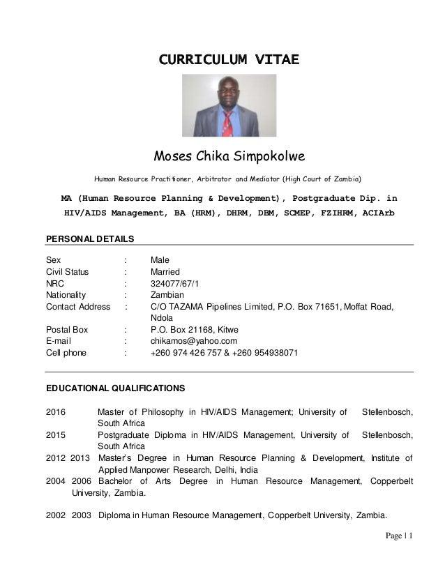 Cv Moses Simpokolwe 1