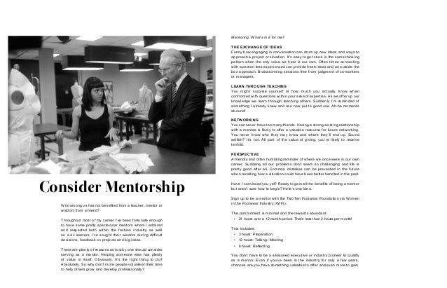 Consider Mentorship Mentoring. What's in it for me? THE EXCHANGE OF IDEAS Funny how engaging in conversation can drum up n...