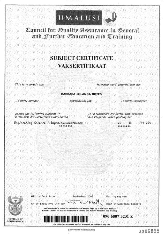 engineering science  certificate