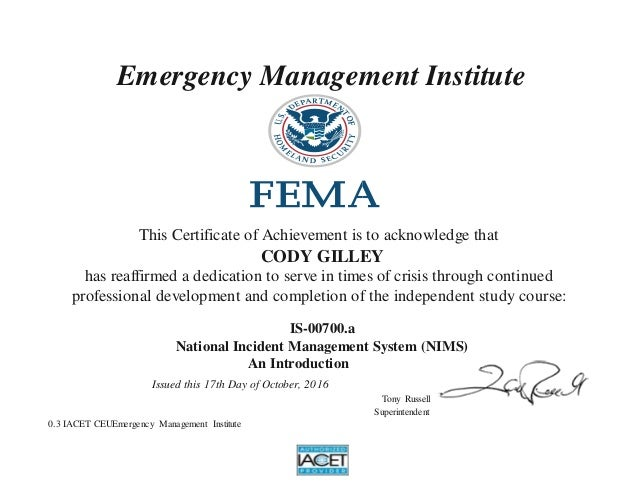 management nims incident national system certificate emergency slideshare introduction upcoming institute