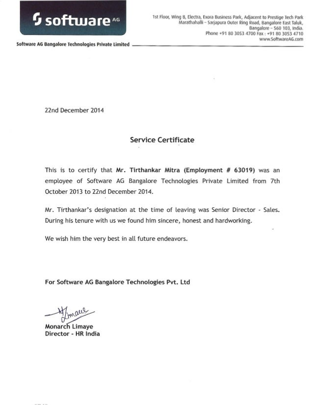 Service Certificate And Reference Letter Of Tirthankar Mitra