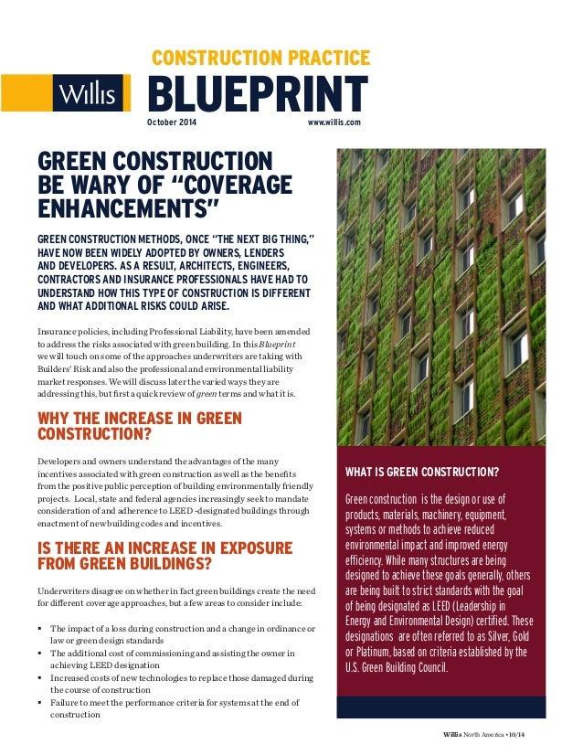 Blueprint green construction be wary of coverage enhancements willis northamerica1014 blueprint construction practice october 2014 willis malvernweather Images