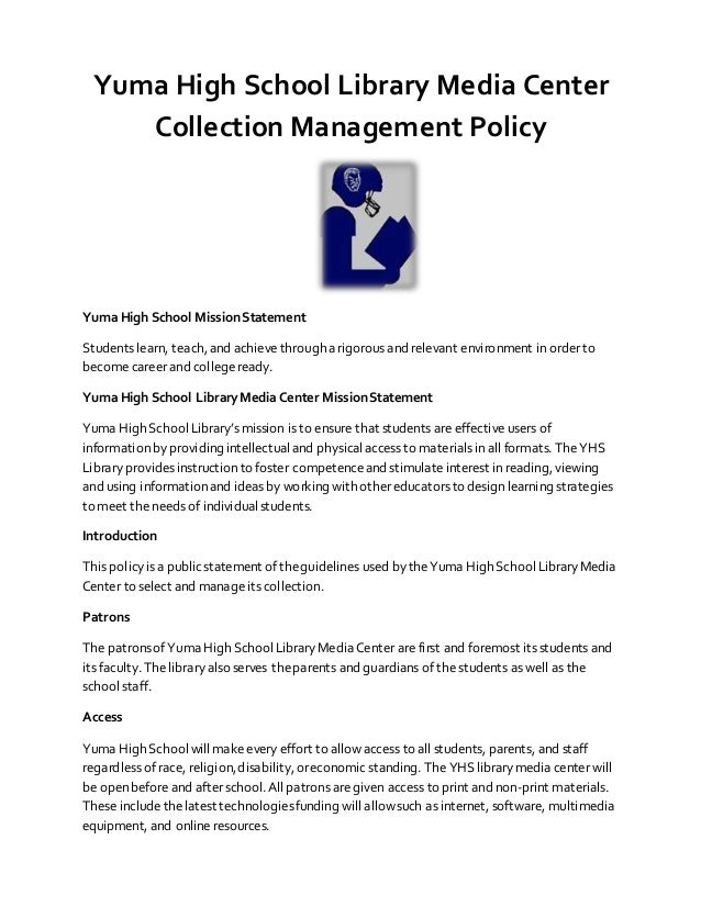 Yuma High School Library Media Center Collection Management Policy Up