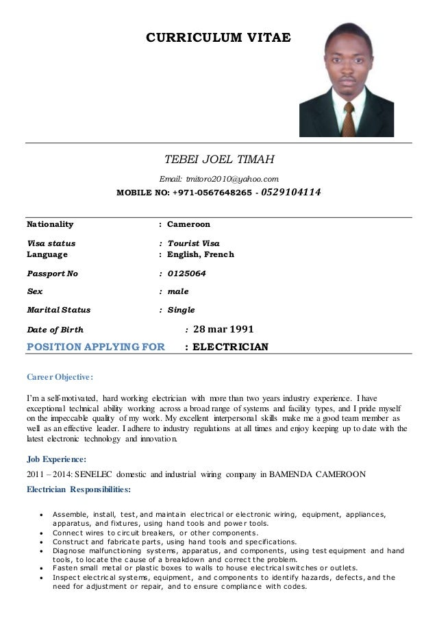 Cv For Electrician  BesikEightyCo