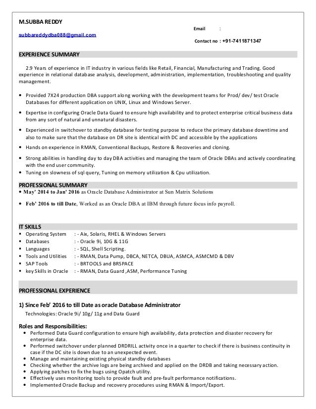 sql dba resume for 1 year experience 28 images sle
