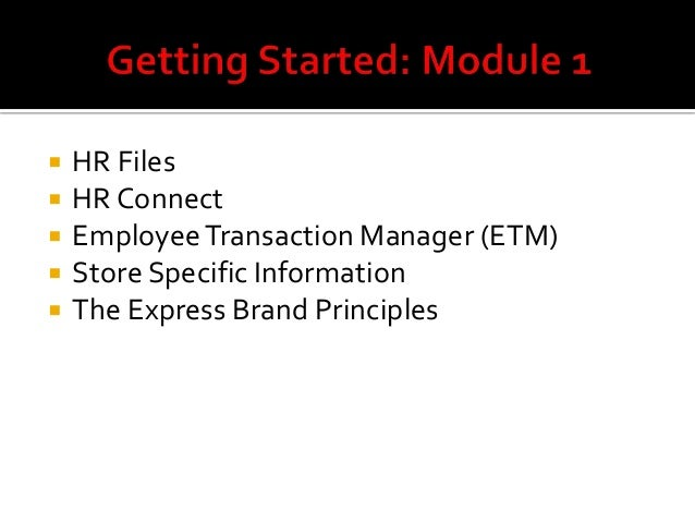 EXPRESS associate orientation