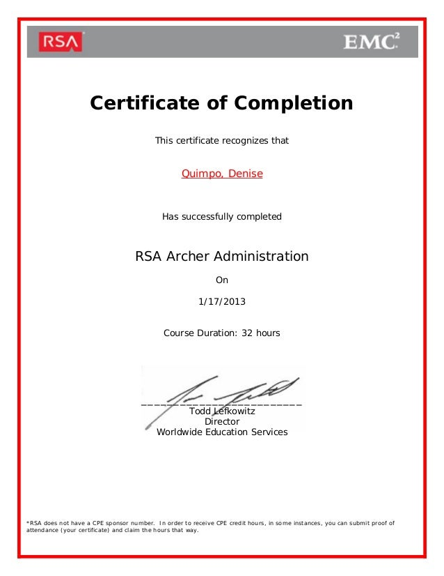 RSA Archer Admin Certificate of Completion
