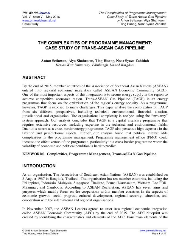 PM World Journal The Complexities of Programme Management: Vol. V, Issue V – May 2016 Case Study of Trans-Asean Gas Pipeli...