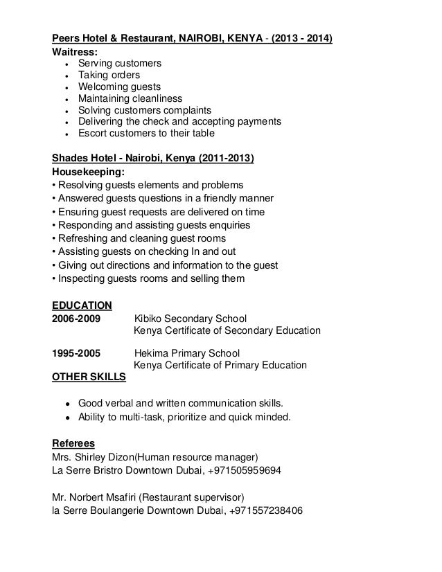 Margaret Muthoni (Waitress Cv,Cover Letter & Photo)New