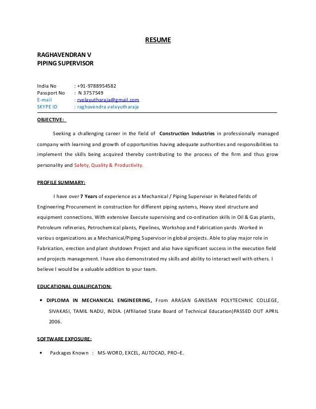 piping supervisor resume pdf