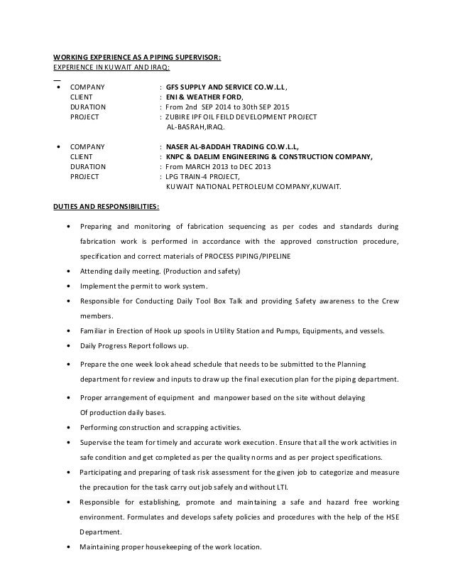 mechanical construction supervisor resume