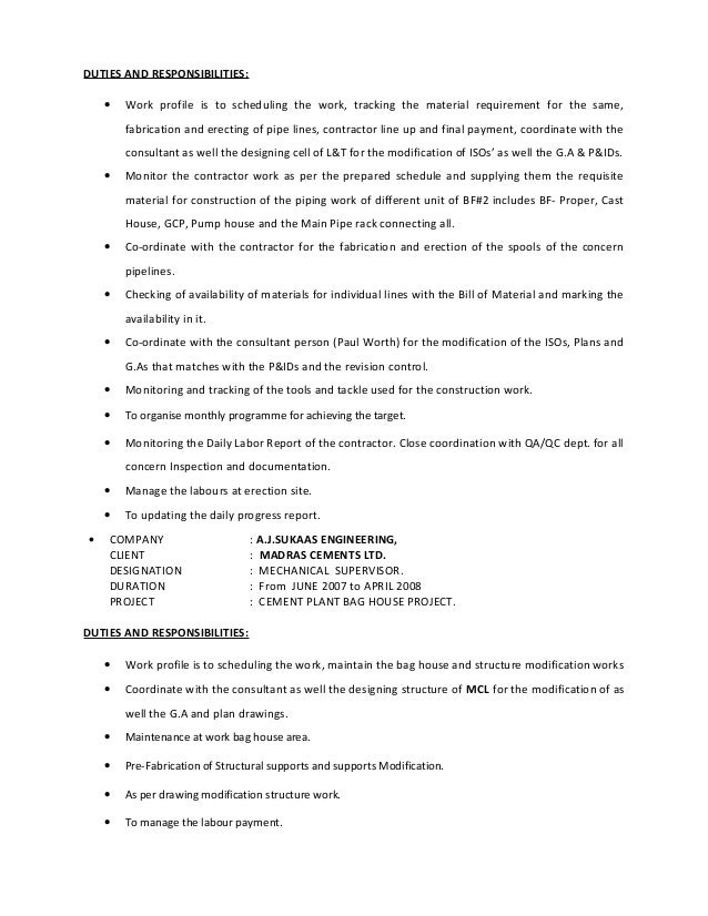 PIPING SUPERVISOR RESUME – Piping Supervisor Resume