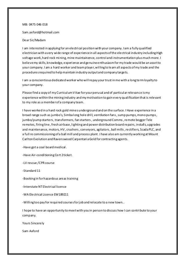 Cover Letter Sam Axford