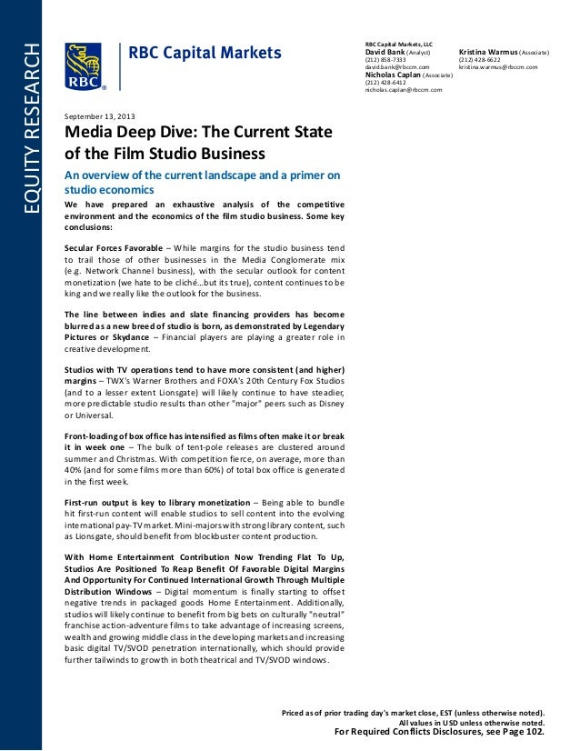 EQUITYRESEARCH RBC Capital Markets LLC David Bank (Analyst) (212) 858- ...  sc 1 st  SlideShare & Media Deep Dive The Current State of the Film Studio Business