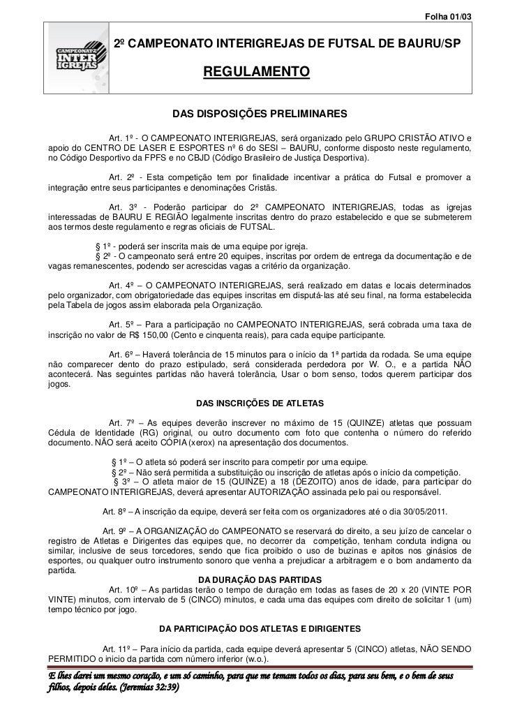 Folha 01/03                 2º CAMPEONATO INTERIGREJAS DE FUTSAL DE BAURU/SP                                          REGU...