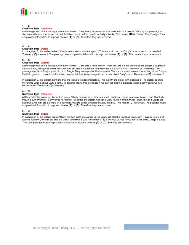 Worksheets Read Theory Llc 1 carlys family free sample 3 readtheory answers and explanations copyright read theory llc