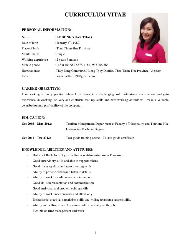 1 curriculum vitae personal information name le dong xuan thao date of birth