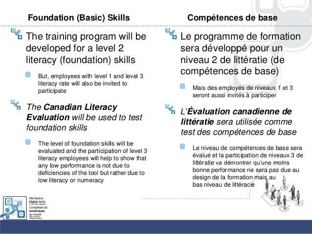 Foundation (Basic) SkillsThe training program will bedeveloped for a level 2literacy (foundation) skillsBut, employees wit...