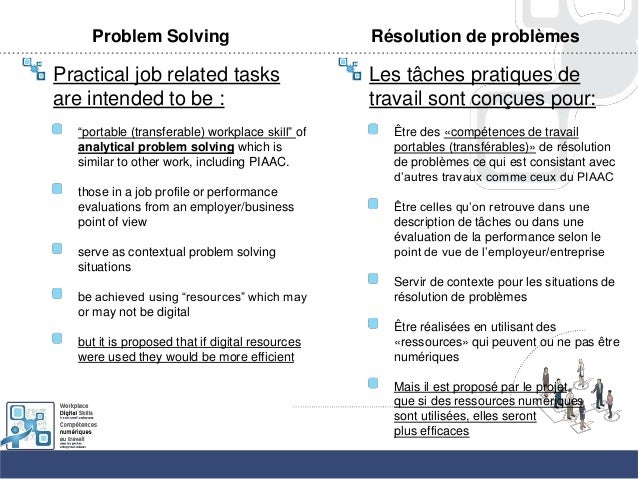 """Problem SolvingPractical job related tasksare intended to be :""""portable (transferable) workplace skill"""" ofanalytical probl..."""