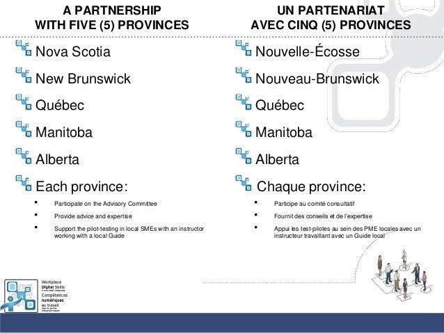 A PARTNERSHIPWITH FIVE (5) PROVINCESNova ScotiaNew BrunswickQuébecManitobaAlbertaEach province:• Participate on the Adviso...