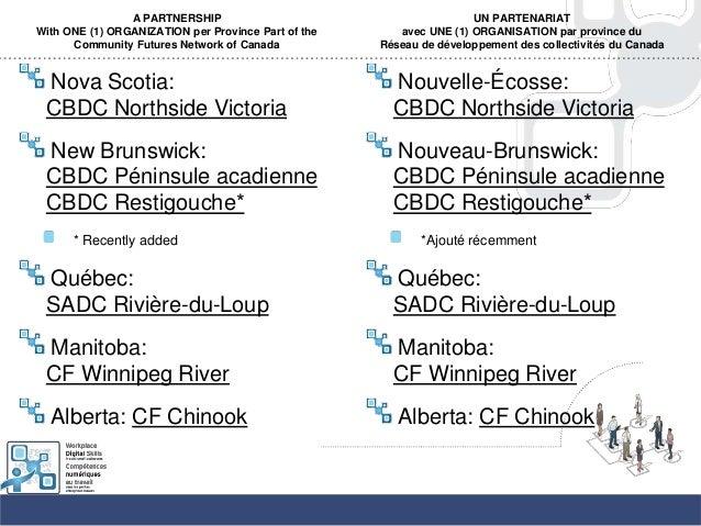 A PARTNERSHIPWith ONE (1) ORGANIZATION per Province Part of theCommunity Futures Network of CanadaNova Scotia:CBDC Northsi...