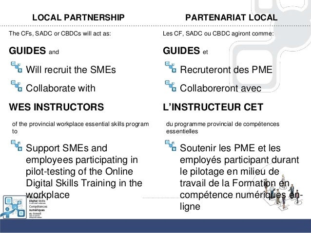 LOCAL PARTNERSHIPThe CFs, SADC or CBDCs will act as:GUIDES andWill recruit the SMEsCollaborate withWES INSTRUCTORSof the p...
