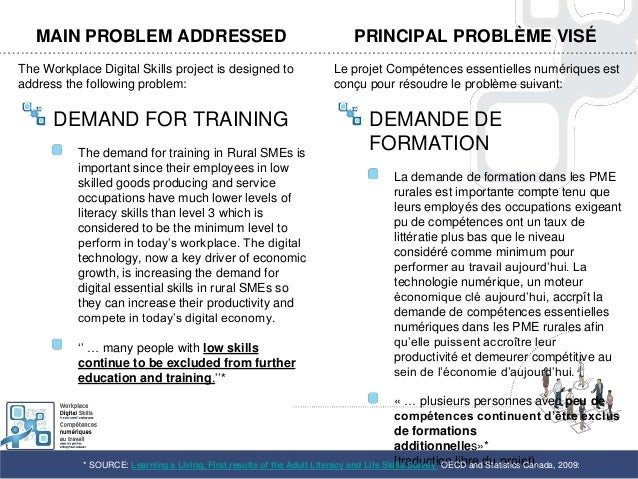 MAIN PROBLEM ADDRESSEDThe Workplace Digital Skills project is designed toaddress the following problem:DEMAND FOR TRAINING...