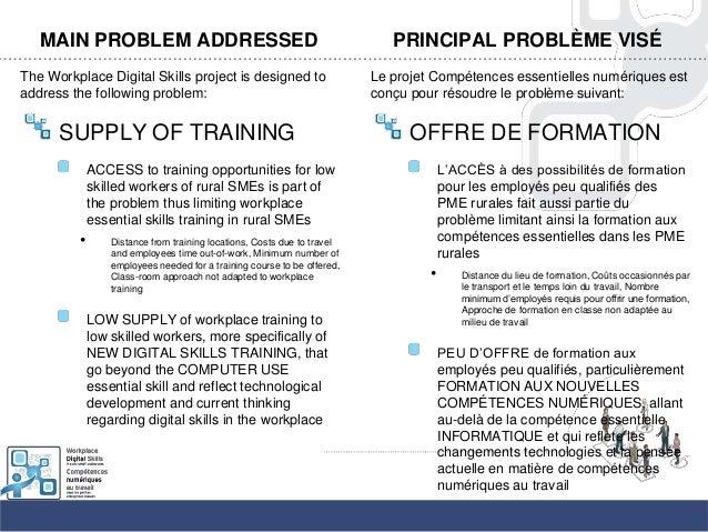 MAIN PROBLEM ADDRESSEDThe Workplace Digital Skills project is designed toaddress the following problem:SUPPLY OF TRAININGA...