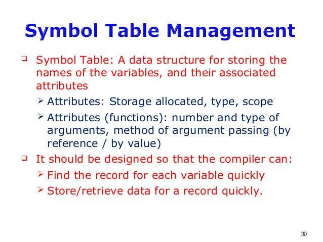  Symbol Table: A data structure for storing the names of the variables, and their associated attributes  Attributes: Sto...
