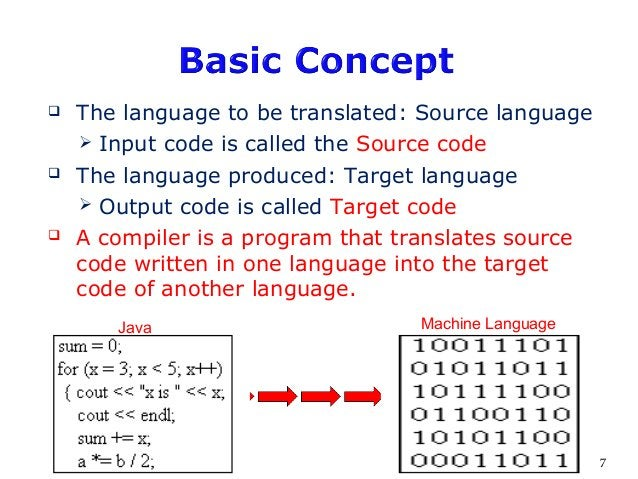  The language to be translated: Source language  Input code is called the Source code  The language produced: Target la...