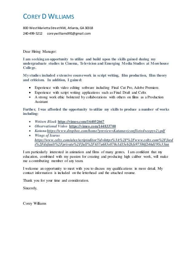 Resume Cover Letter 2016
