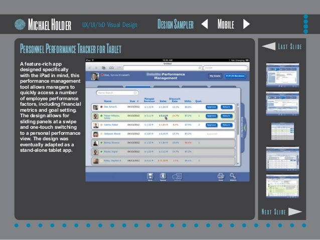 Mobile PersonnelPerformanceTrackerforTablet A feature-rich app designed specifically with the iPad in mind, this performan...