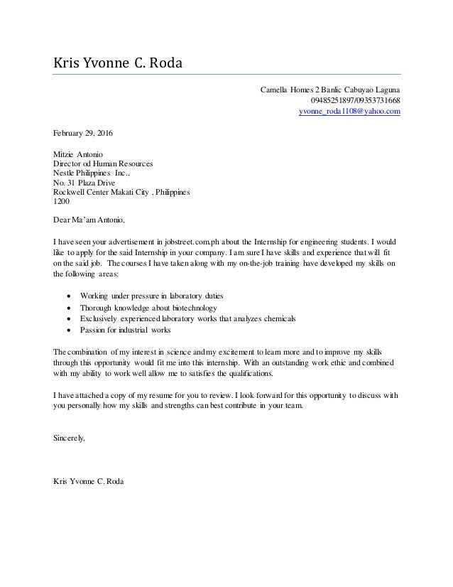 cover letter engineering student