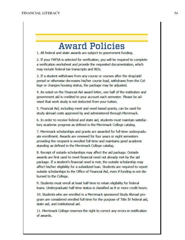 Graduate Capstone Financial Literacy – Financial Literacy Worksheets