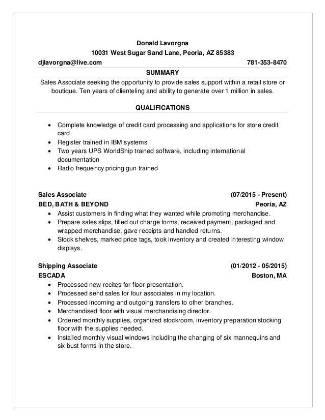 Resume No Address  Stock Associate Resume