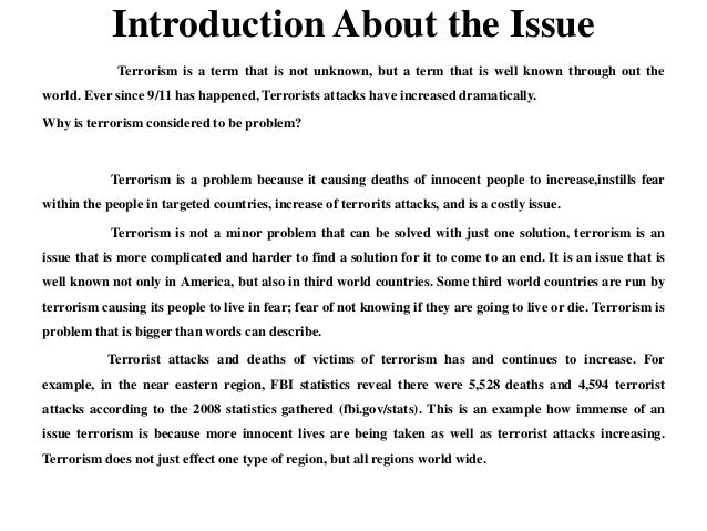an introduction to the issue of international terrorism Introduction the analysis an introduction to the life of seamus heaney of this article applies metaphor analysis to the issue an introduction to the issue of.