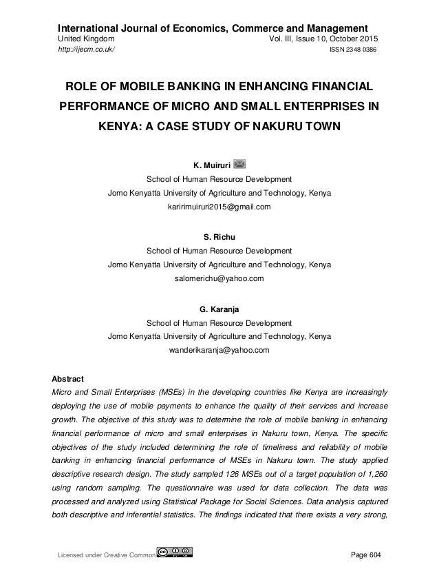 "financial performance of banking enterprises Abiola babajide phd (department of banking and finance, covenant university, ota pmb 1023, ota, ogun state, nigeria) citation: abiola babajide (2012) ""effects of microfinance on micro and small enterprises (mses."