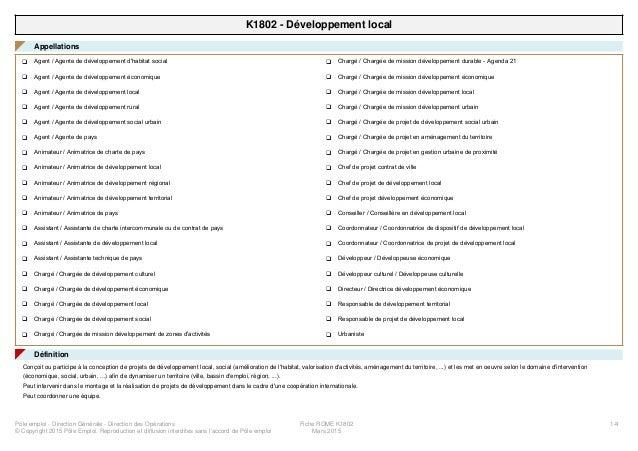 K1802 - Développement local Appellations◤ Agent / Agente de développement d'habitat socialq Agent / Agente de développemen...
