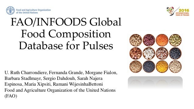 FAO/INFOODS Global Food Composition Database for Pulses U. Ruth Charrondiere, Fernanda Grande, Morgane Fialon, Barbara Sta...