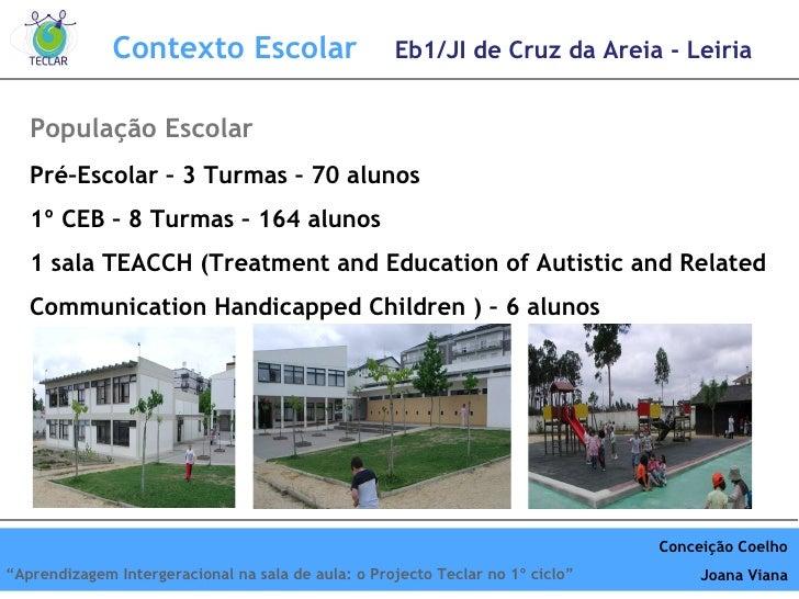 Pré–Escolar – 3 Turmas – 70 alunos 1º CEB – 8 Turmas – 164 alunos 1 sala TEACCH ( Treatment and Education of Autistic and ...