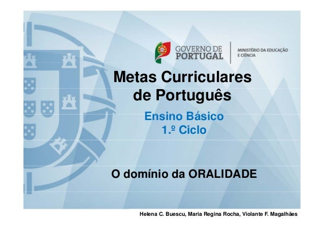 Metas Curriculares de Português Ensino BásicoEnsino Básico 1.º Ciclo O domínio da ORALIDADE Helena C. Buescu, Maria Regina...